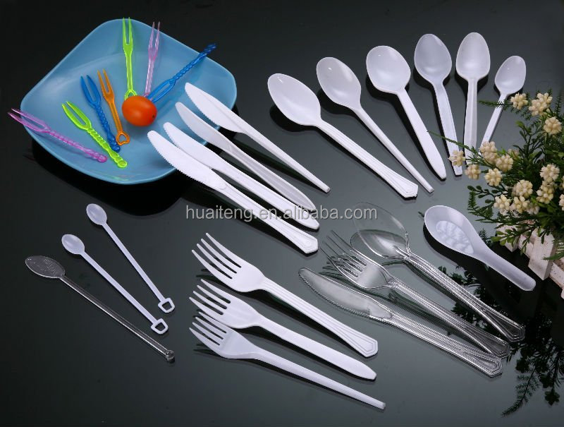 2017 hot new products 2.7g PS flatware utensils white disposable plastic cutlery fork, knife,spoon direct from china factory