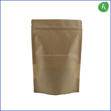 Food Kraft Paper Pouch/Brown coffee bean bag /Custom Kraft ground tea packaging bag with ziplock