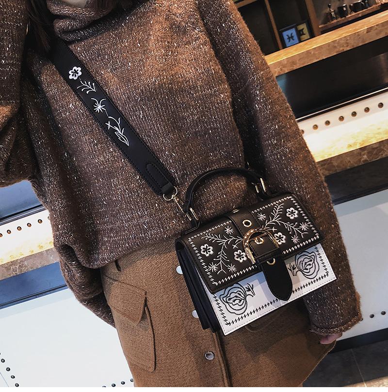 Toposhine Fashion Women Bag Panelled Vintage Flower Girls Bags for Girls Black PU Leather Women Messenger Bags Drop Shipping 9
