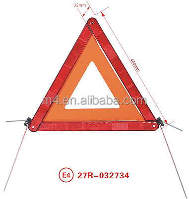 Red safety reflective traffic warning triangle