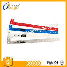 Hot selling disposable L shape custom pvc id wristbands with logo printing