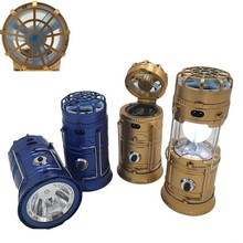 Multi-functional solar led camping lantern rechargeable Lamp with fan cell phone charging