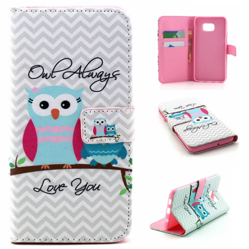 Print PU Leather Cell Phone Flip Case Cover For Samsung Galaxy S7 S4 S5 S6 S6edge S6 edge Plus Cool Design with Card Slots Bags