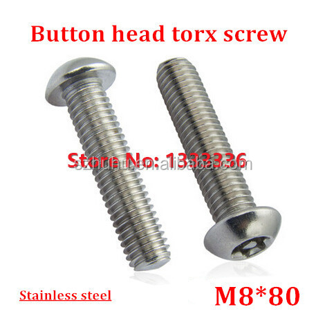10pcs/lot M8*80 Button Head <strong>Torx</strong> <strong>Screw</strong> 6-Lobe Bolt / Security Anti-theft with Pin Pan Machine <strong>Screws</strong> SS304 with Free <strong>Torx</strong> Key