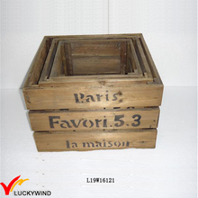 Square Used Looking Box Vintage Wooden Fruit Crates