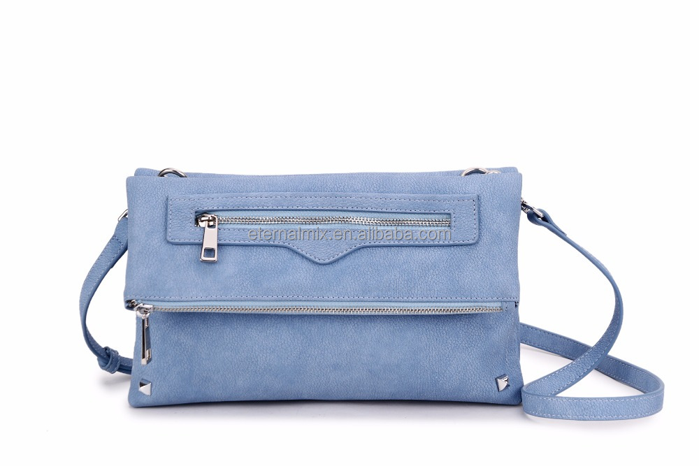 Two Pockets with Zippers Light Blue Cross Body PU Bag
