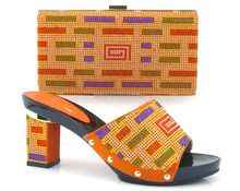 Italian designer shoes and bags to match chuncky heel women shoes mix colorful stone bag