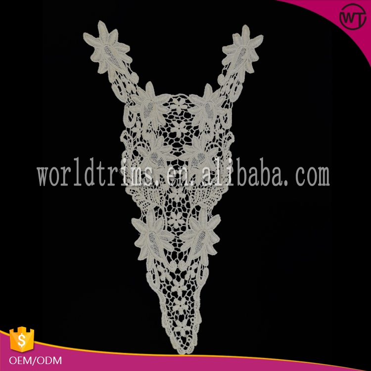 Factory price newest style detachable fur collars neck embroidery design for kurta