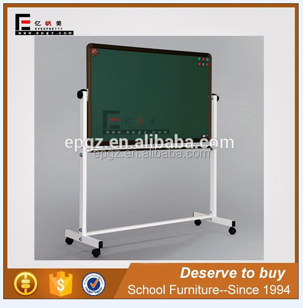 Cheap School Furniture Supplier Black Double-Side Magnetic Board with Metal Stand