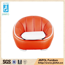 Living Room One Two Three seater Round Chaise Orange Leather Sofa with Soft Seat