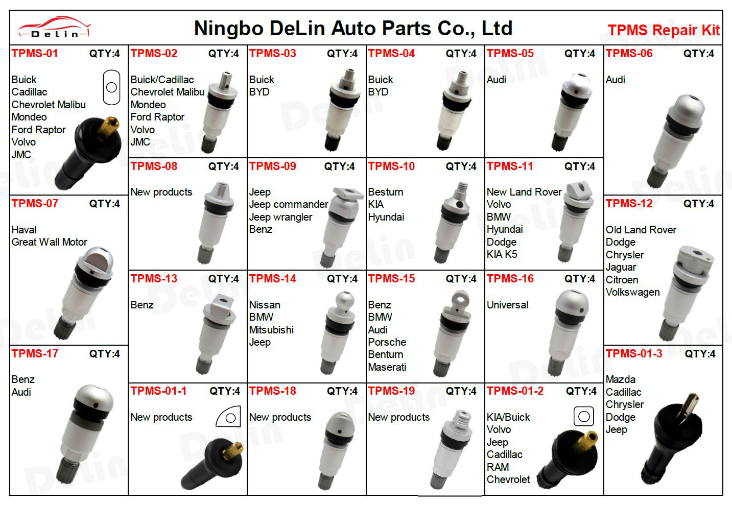 DeLin hot sale factory price tubeless aluminum material tire valve stem for Jeep Nissan Mitsubishi