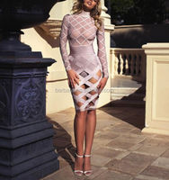 2016 wholesale hottest latest sexy design long sleeve stunning bandage fabric party dress