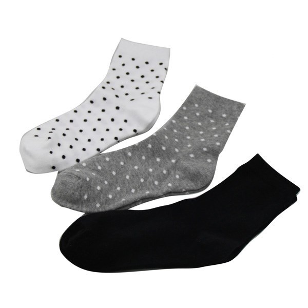 GSW-19 custom knitting machine for socks dot design black 100% cotton women socks