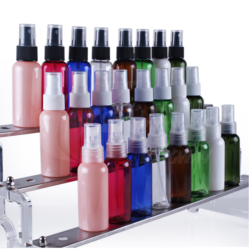 High qulity100ml 120ml PET Cosmetic Plastic Spray Bottles with One Color Screen Printing
