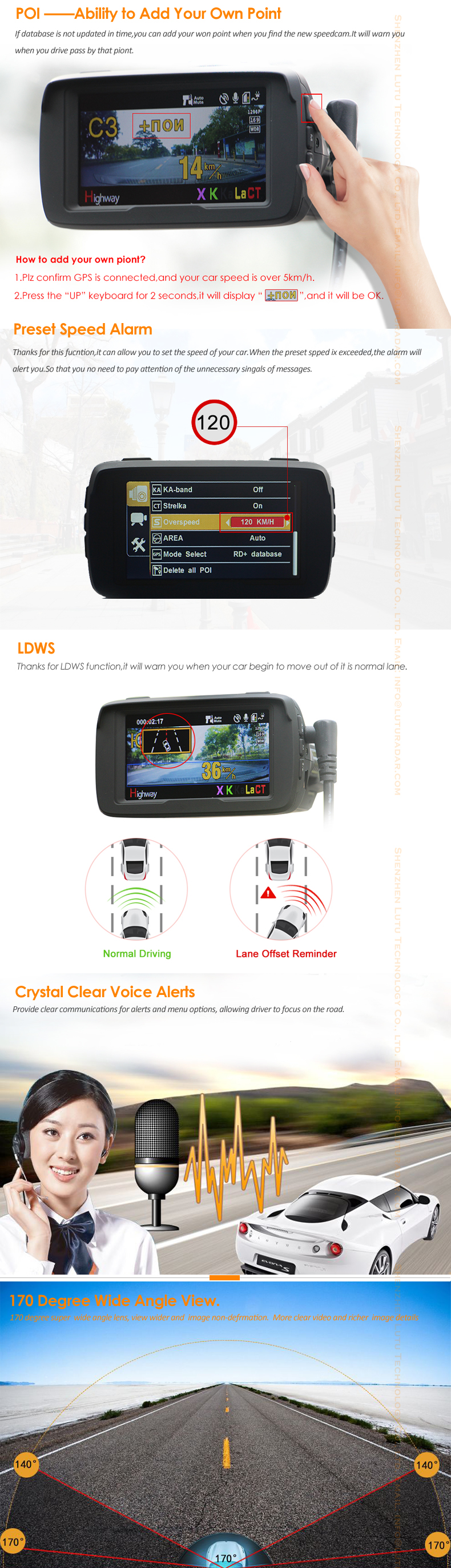 1296P Ambarella A7 gps radar detector with car dvr camera & video recorder