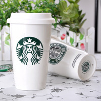 2014 world cup brazil souvenirs ceramic starbucks coffee cup with The silicone lid huasheng 14075