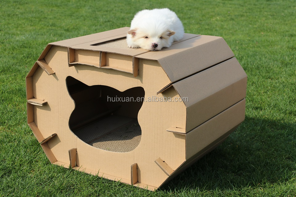 2017 Newest Eco-friendly paper material pet house ,easy taking and outdoor travelling best choose