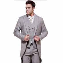 Gray swallow-tailed coat high quality men suits elegant fashion groom wedding suits groomsman prom suits (jacket+vest+pants)