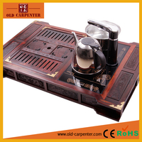 Luxury home office wooden tea tray with induction cooker and stainless steel cattles