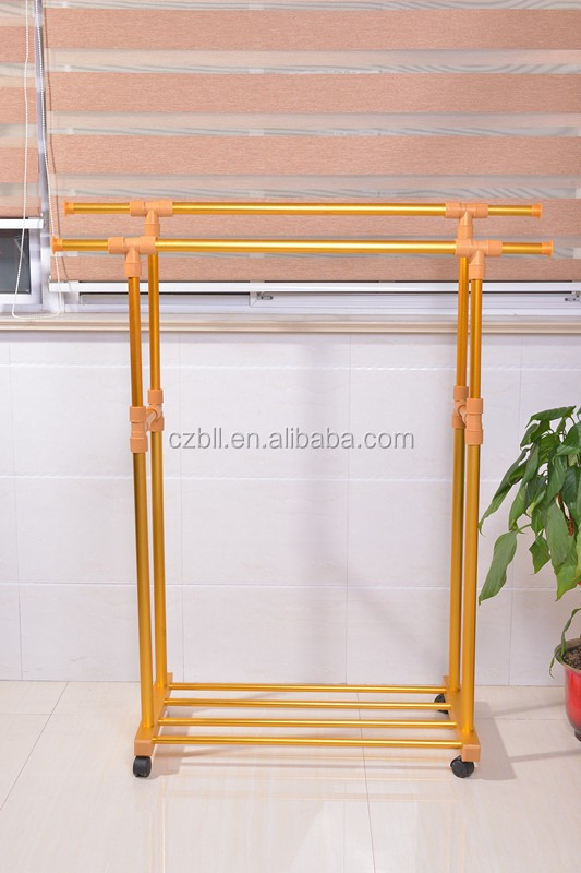 Double pole aluminum alloy clothes drying rack