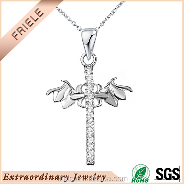 New fashion design angel wing catholic cross pendant 925 sterling silver jewelry