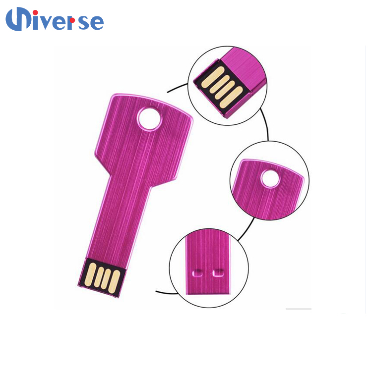 Metal key shape usb <strong>flash</strong> drive with OEM logo various colors