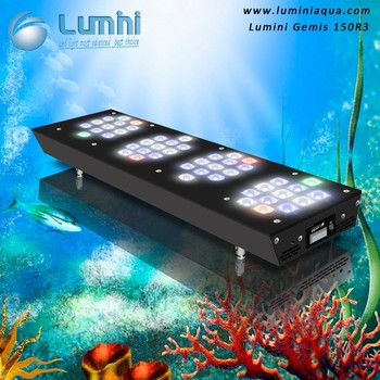 LuminiAqua High Par Wireless Controlled 150W Full Spectrum led aquarium lights Timing and Dimming for 60 Inch Aquarium