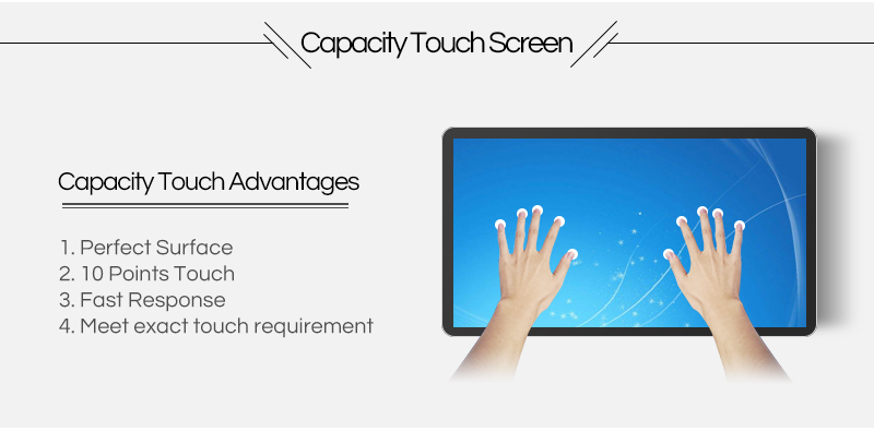84 inch taxi touch screen advertising wall mounted led monitor media player
