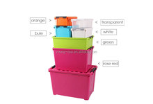 8.5L 34L 60L 120L Opaque Candy Color Set Plastic Storage Box with Hinged Lid