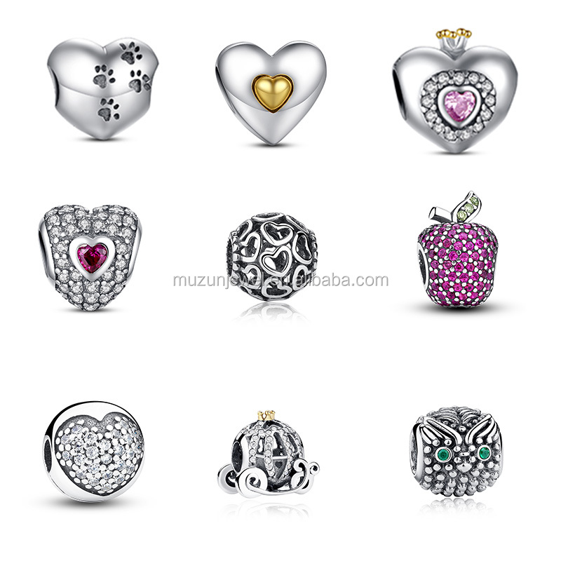 Fashion design 925 sterling silver plain 925 sterling silver heart charm beads