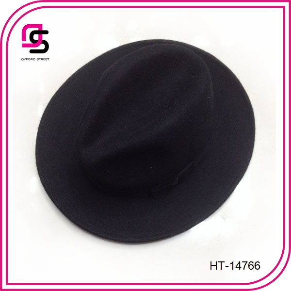 Grosgrain ribbon black color men's fedora hat