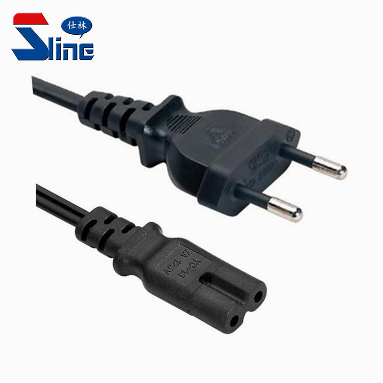 Israel 2 pin plug to IEC C7 power cable with SII certification 2.5A 250V