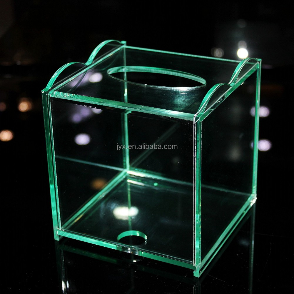 Acrylic Tissue Box, Lucite Tissue Box Cover, Clear Starburst Box