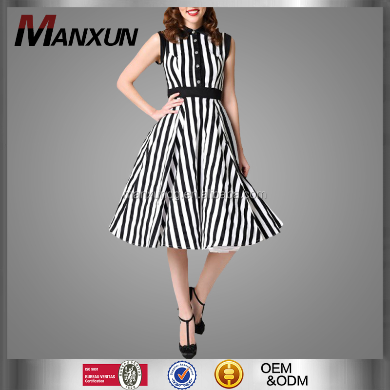 2017 New design Black & White Vertical Stripe Button Up Sleeveless Round Collar Long Dress Pretty Casual Dress