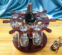 Decorative curved wooden wine bottle holder with wine glass rack