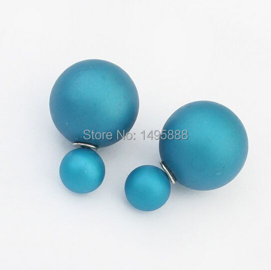 New Fashion Hot Selling 2015 Double Side matte Pearl Stud Earrings/ Big Pearl For Women Factory outlets Hot new products