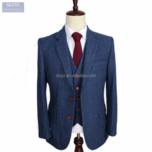 fancy Blue Men suits Retro gentleman custom made tailor Blazer pocket button up lapel slim fit cotton frock suit design for men