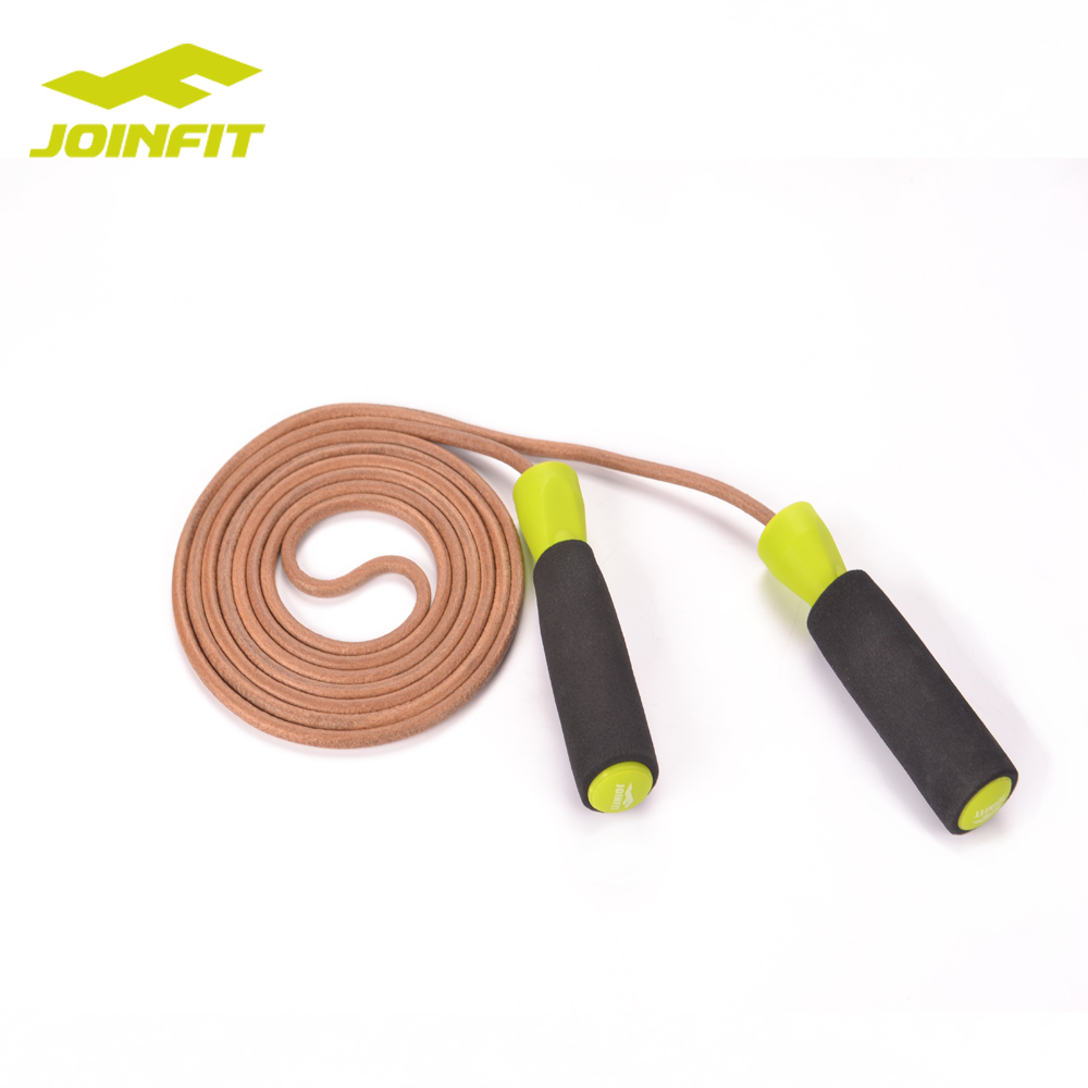JOINFIT crossfit leather jump rope with bearing in handle/High Speed Anti-slip Handles Adjustable Leather Jump Rope