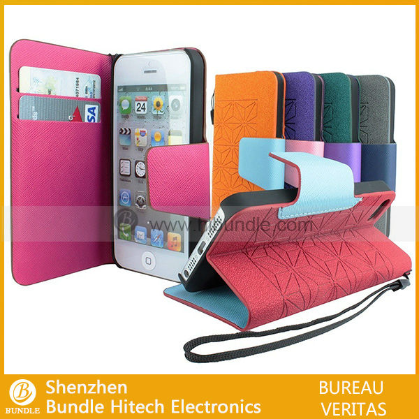 for iPhone4s case High Quality Copy Real Leather card insert wallet Case For iPhone4 Flip Standing Case