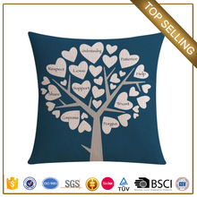 Guangzhou heart tree pillow blue square cushion rustic home decor bolster