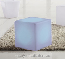 illuminated led cube chair/Colorful night club seating led stool