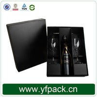 Black Rigid Corrugated Paper Box With Tray For Champagne And Two Glasses Packaging