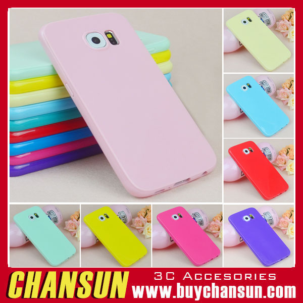 Popular 2016 hot sell Candy Color Soft TPU Silicone Skin Back Case Cover For Samsung Galaxy S6 egde