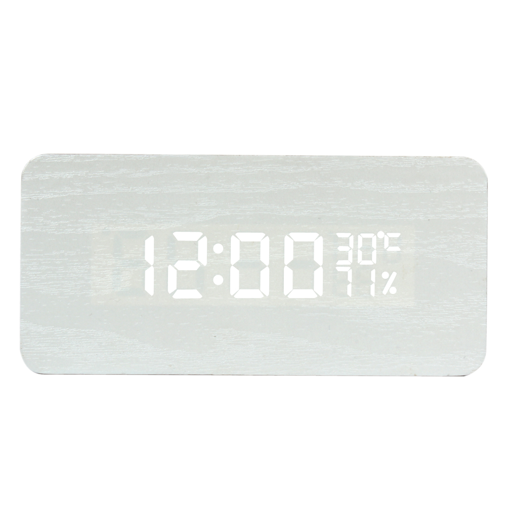 ZOGIFT White Wood LED Light Alarm Clock With Calendar/Time/Alarm Clock/Temp/Humidity Display & Sound Control