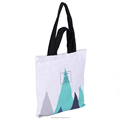 Hand madedouble handles organic cotton canvas shopping bag with zipper closure