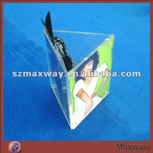 Triangular Acrylic Countertop Pen Holder with Photo Frame