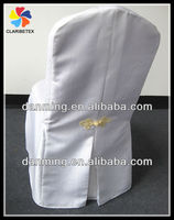 New Arrival White Banquet Poly Chair Cover With Pleats Back