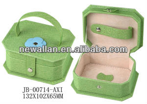 Green Flower decoration Faux Leather Jewelry box