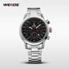 WEIDE Relojes De Marca Masculino Stainless Steel Band Auto Date Day Week Waterproof Display Men Clocks Watches