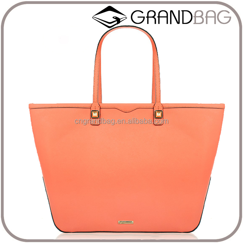 Orange Leather Zip Tote Bag popular saffiano leather organizer tote handbag with gold stud for office lady daily